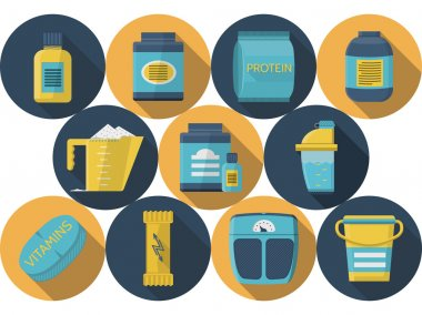Set of round blue and yellow flat color design vector icons with elements for sports diet on white background clip art vector