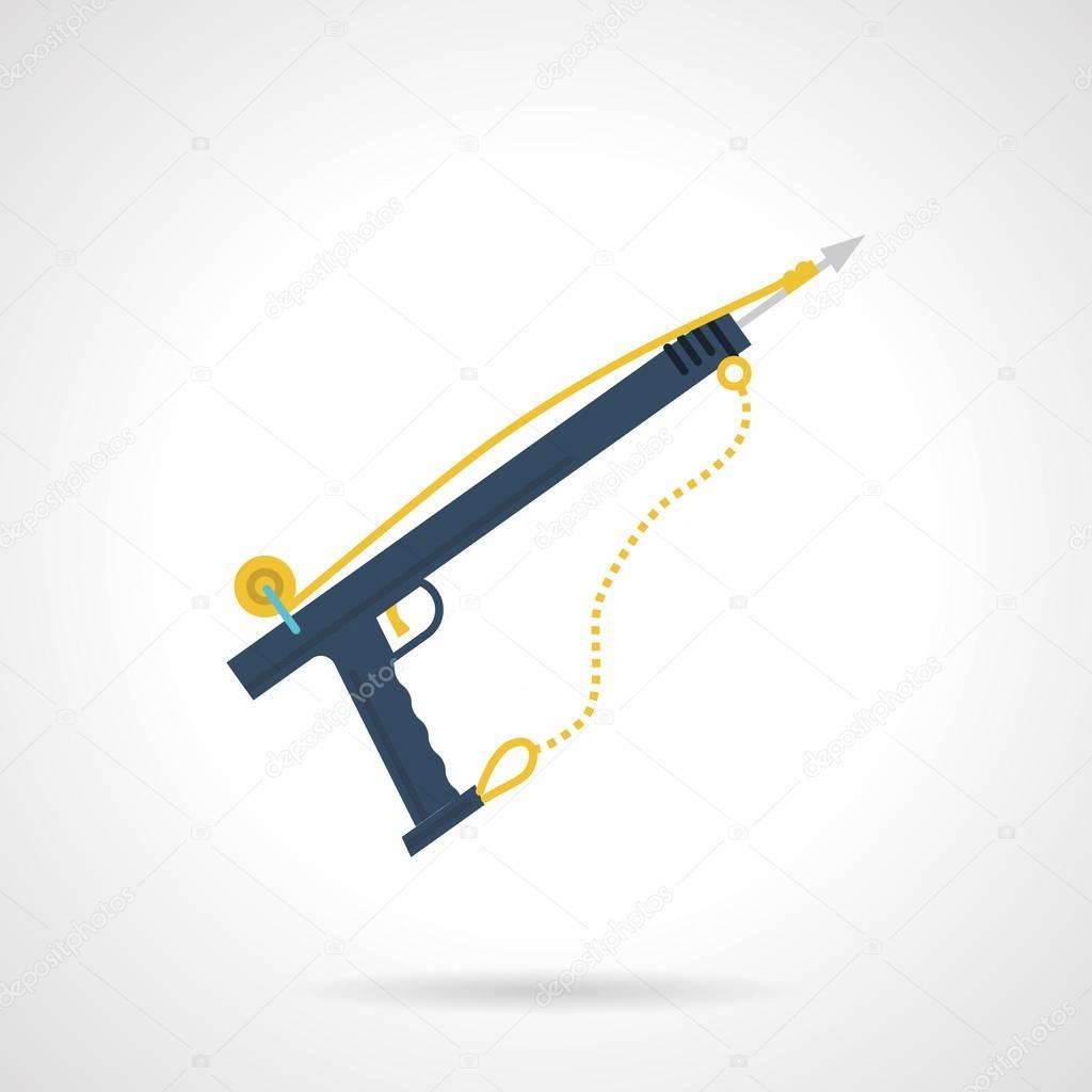Blue harpoon flat vector icon
