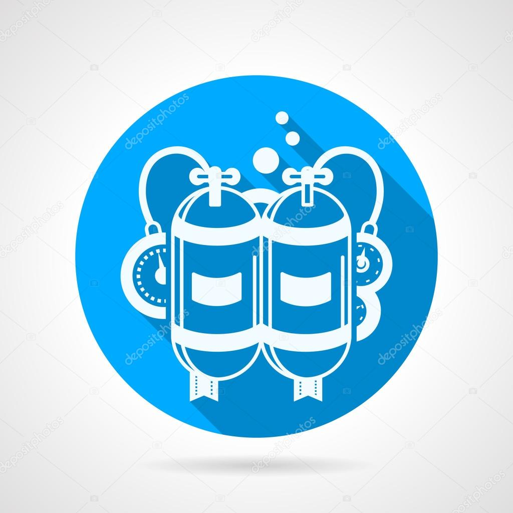 Aqualung flat round vector icon
