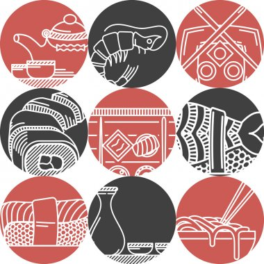 Asian food black and red vector icons