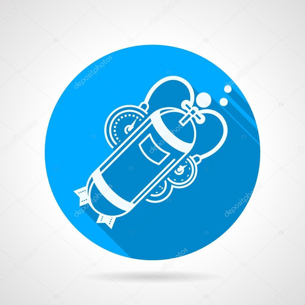 Aqualung flat round vector icon