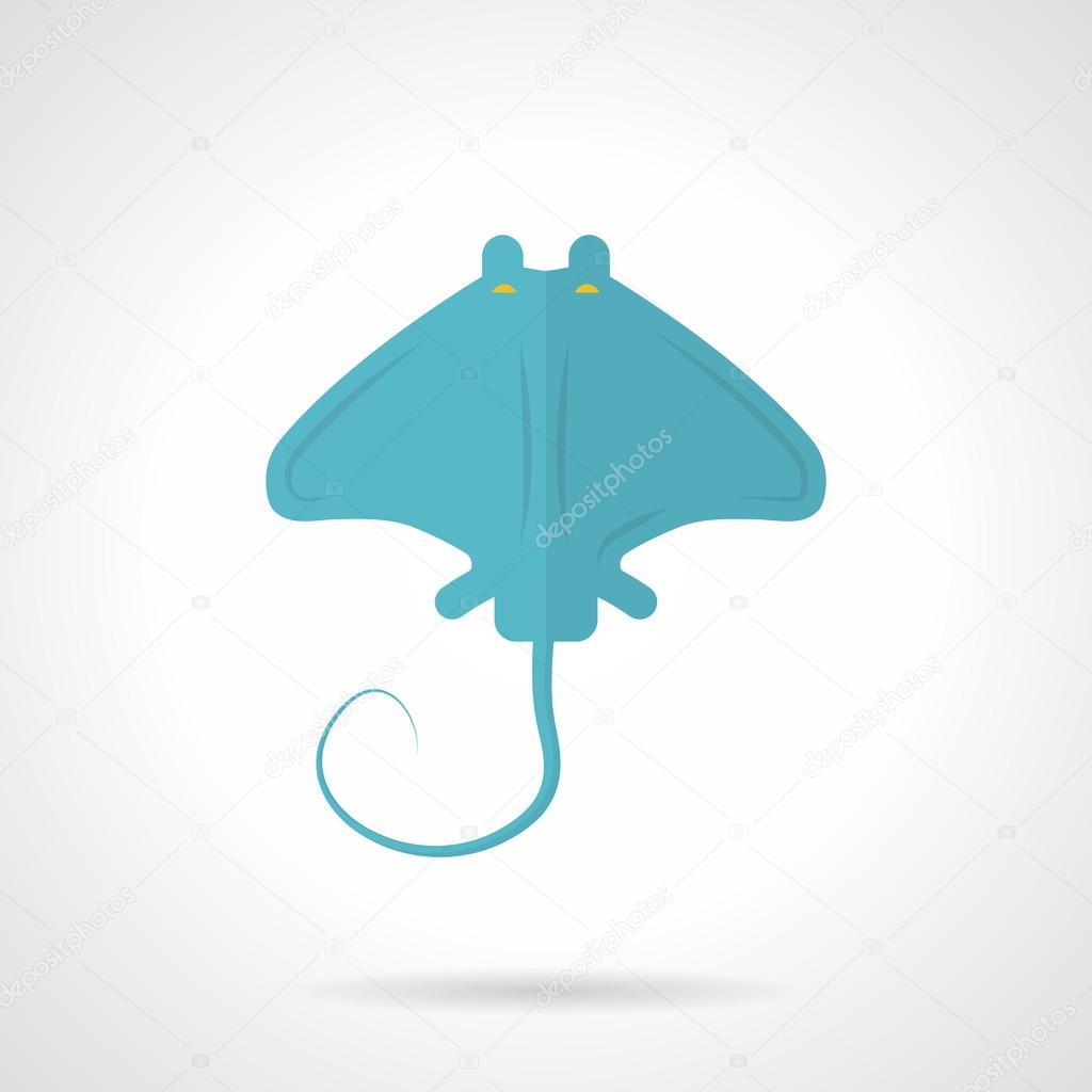 Blue stingray flat vector icon