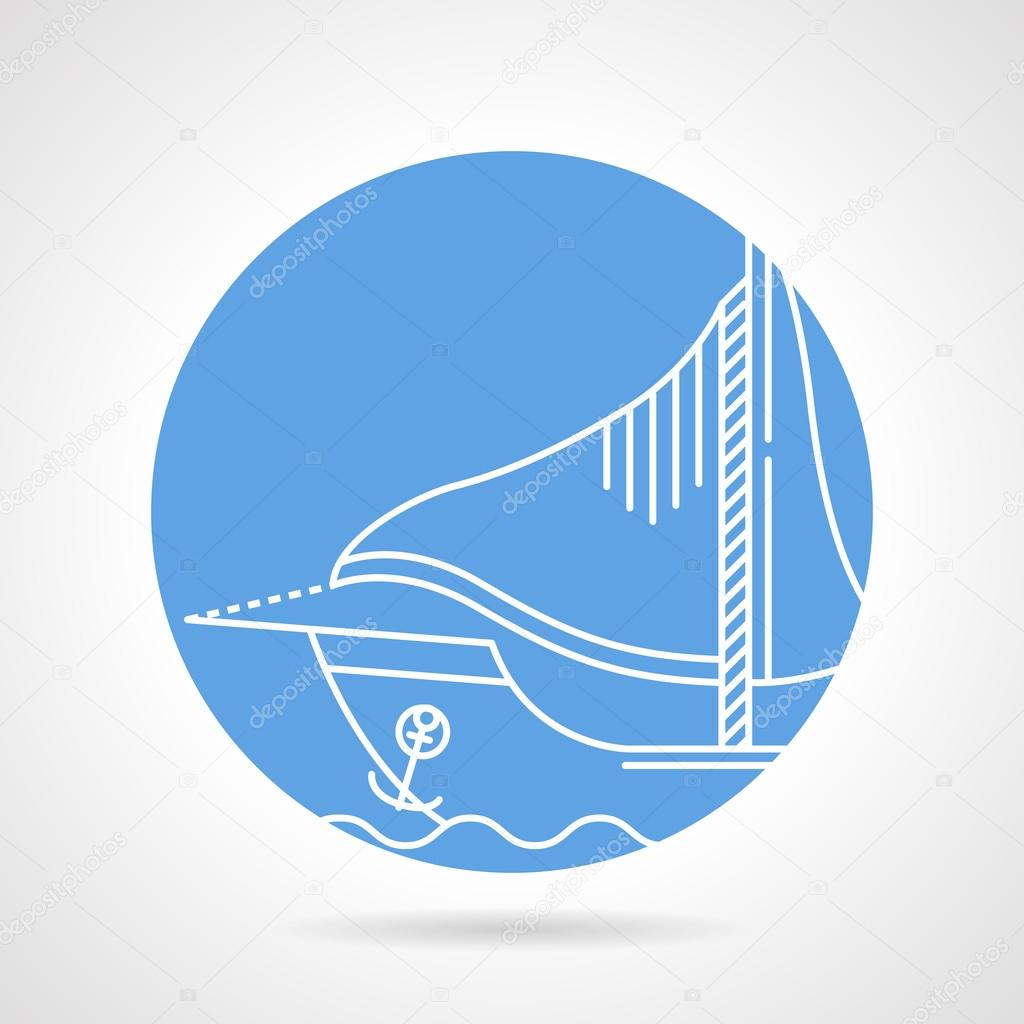 Sail boat round vector icon