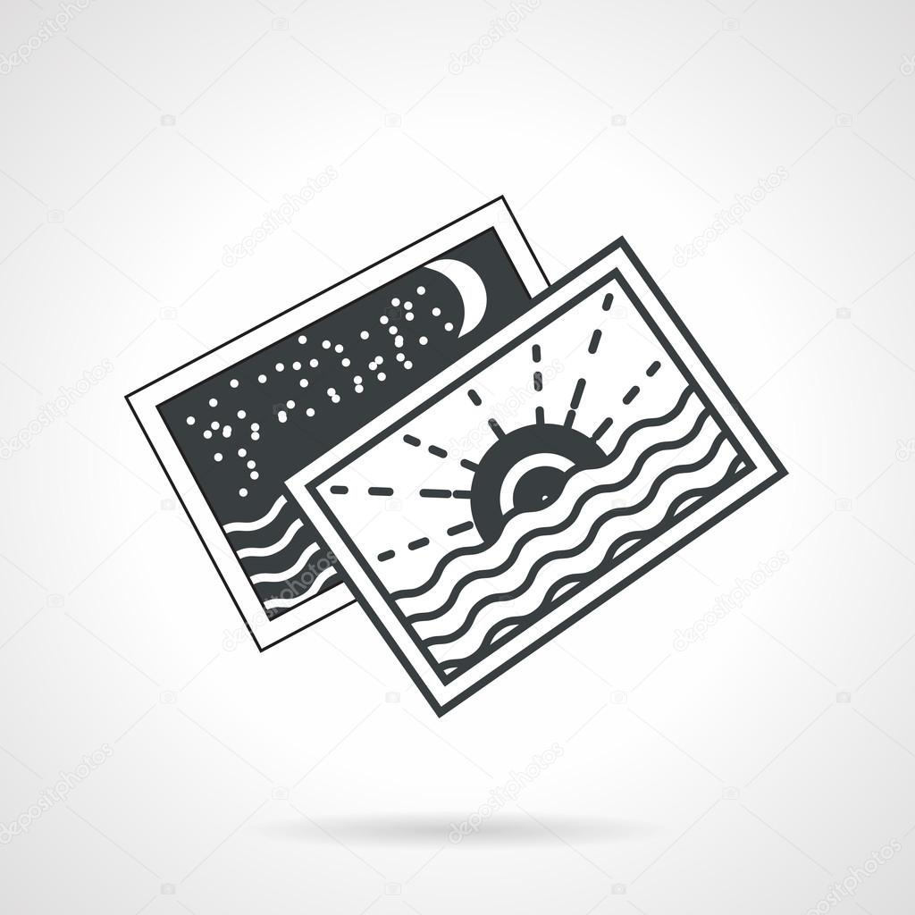 Seascape cards black line vector icon