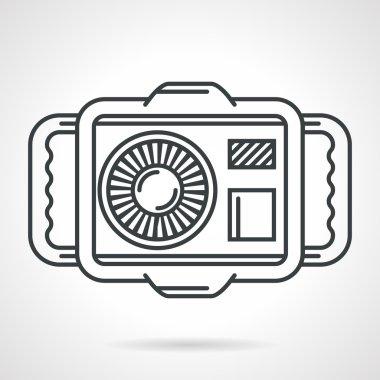 Sport camera black line vector icon