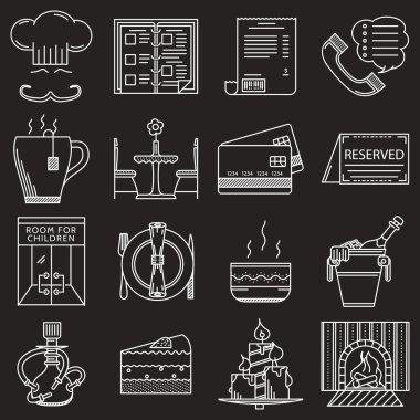 Restaurant service white line vector icons