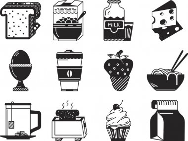 Black monochrome vector icons for breakfast menu