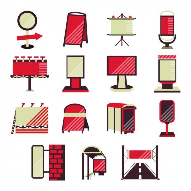 Set of flat color design vector icons for outdoor advertising promotion. Billboards, signs, advertising on bus stops and other sites for business and website clip art vector