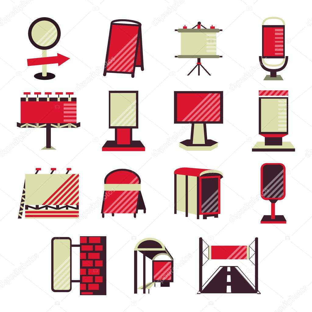 Set of flat color design vector icons for outdoor advertising promotion. Billboards, signs, advertising on bus stops and other sites for business and website clipart vector
