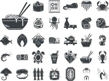Seafood menu black monochrome vector icons