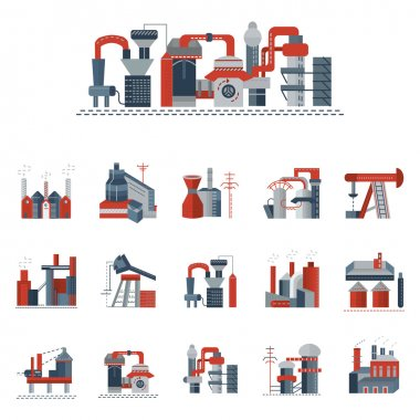 Industrial factories flat color vector icons