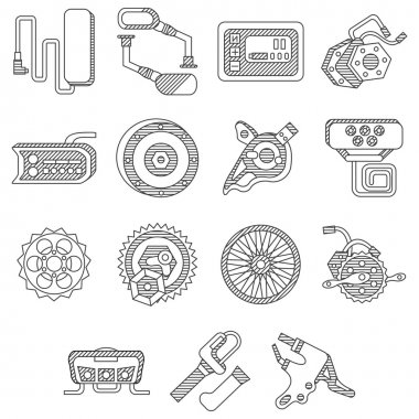 Parts for electric bike flat line vector icons