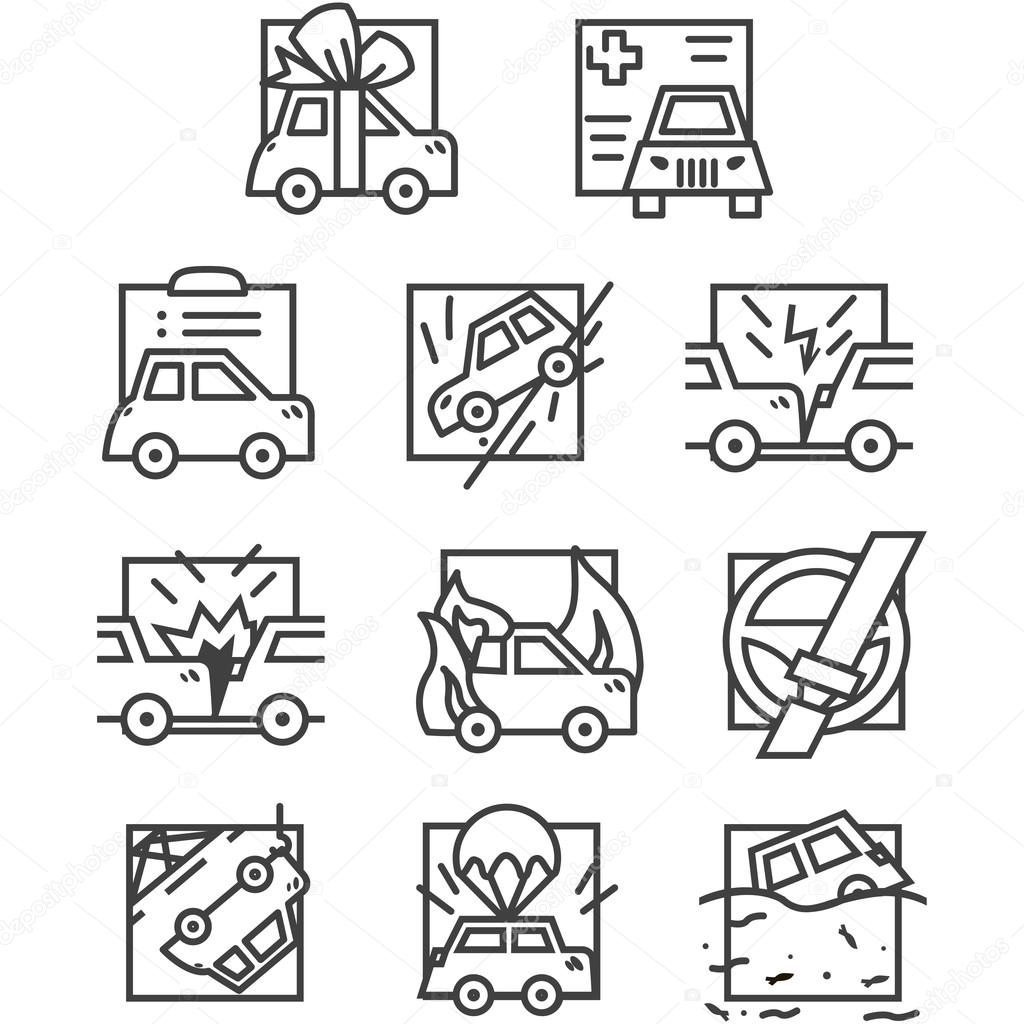 Simple Line Vector Icons For Car Insurance Stock Vector