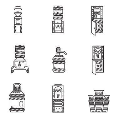 Water cooler black line vector icons set