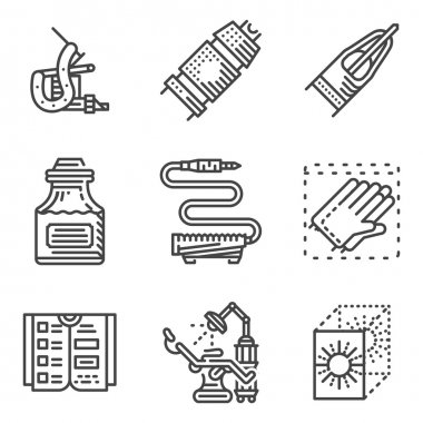 Black line vector icons for tattoo parlor