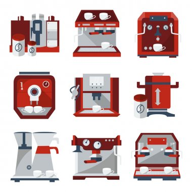 Flat vector icons for selling coffee machines