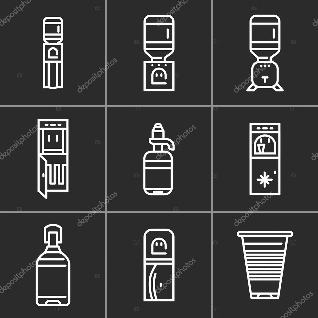 White simple line vector icons for water coolers