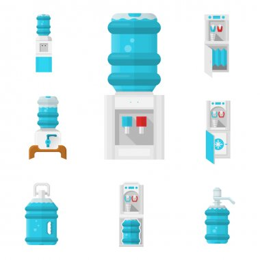 Water coolers flat color vector icons set