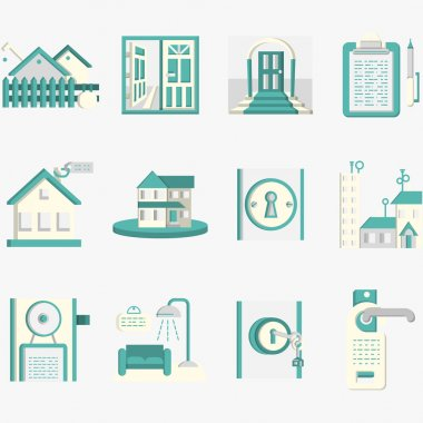Flat blue vector icons for housing rent