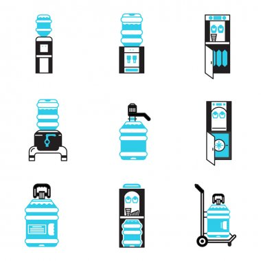 Water cooler items flat vector icons set
