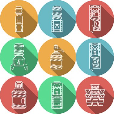 Flat round vector icons for water coolers