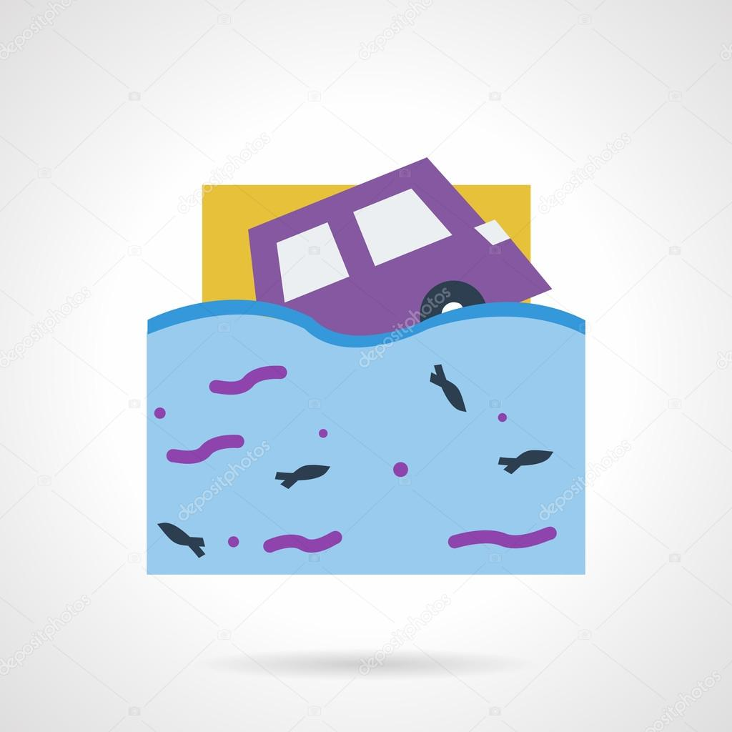 Flood insurance flat color vector icon