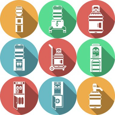 Water coolers services colored vector icons