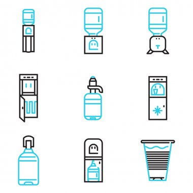 Water coolers simple line vector icons