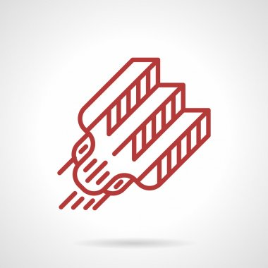 Red line tattoo needle vector icon