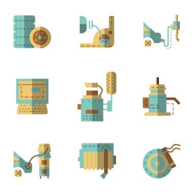 Auto service flat vector icons set