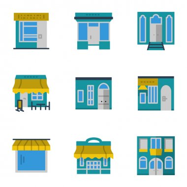Storefronts blue vector icons set