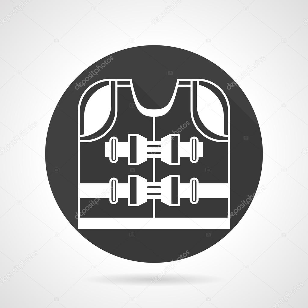 Life jacket black vector icon