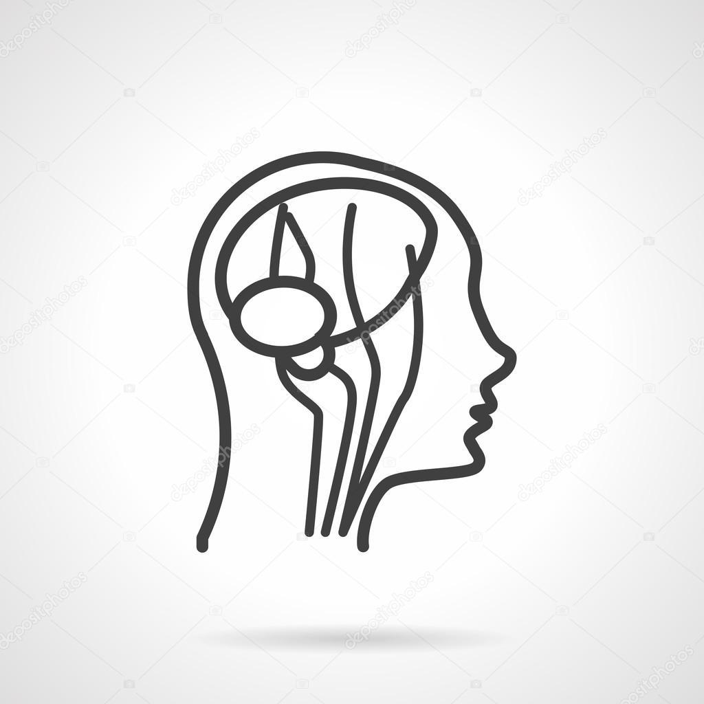 Anatomie Gehirn schwarze Linie Vektor-Symbol — Stockvektor ...