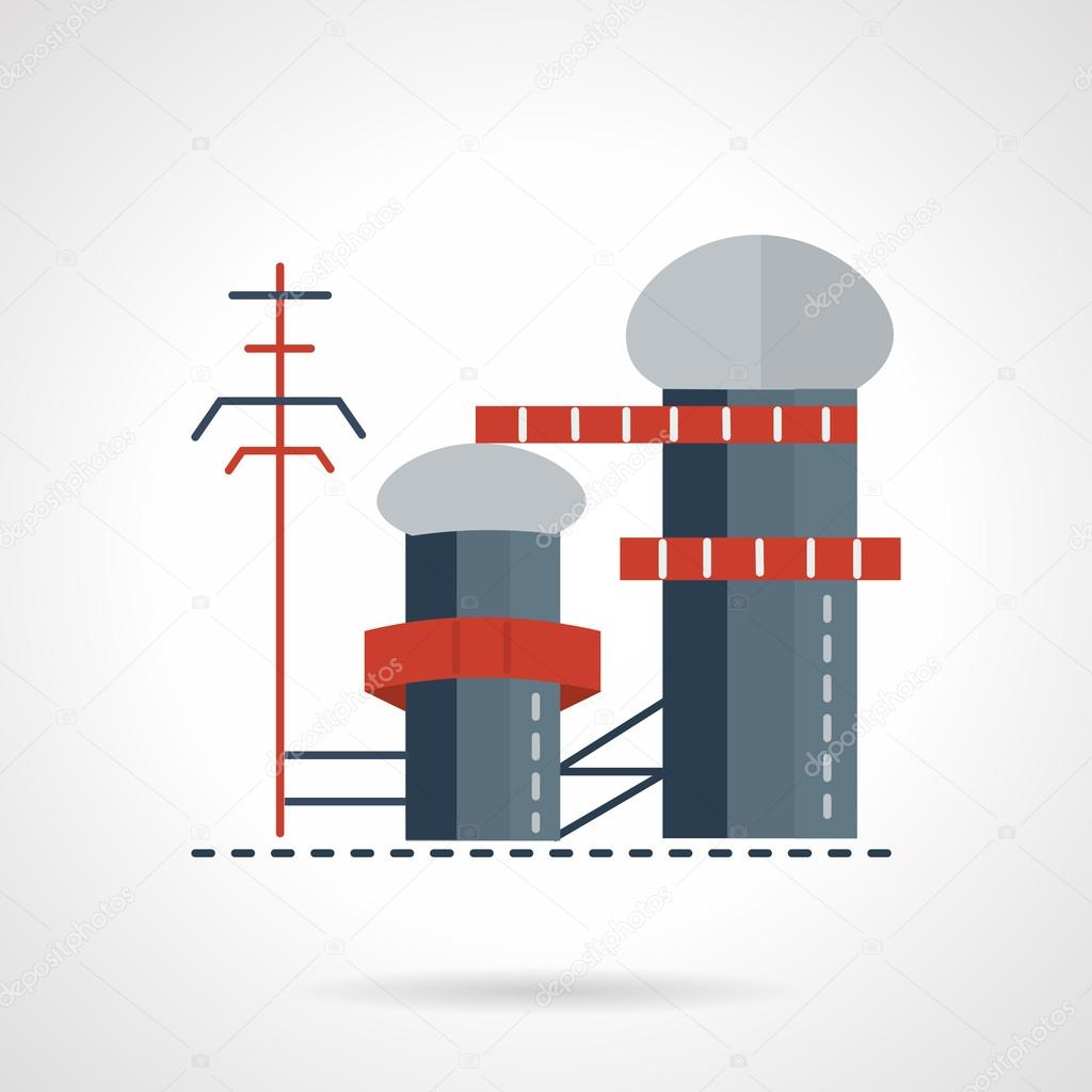 Biomass power plant flat vector icon