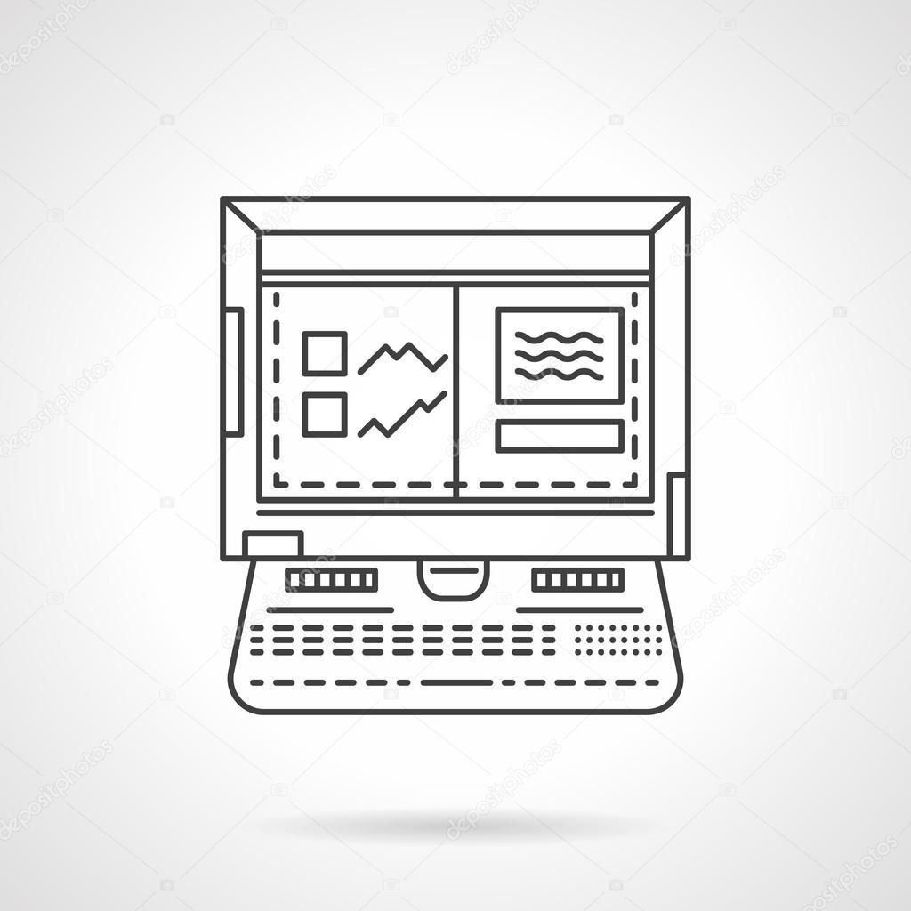Laptop For Car Diagnostic Linear Vector Icon Stock Vector