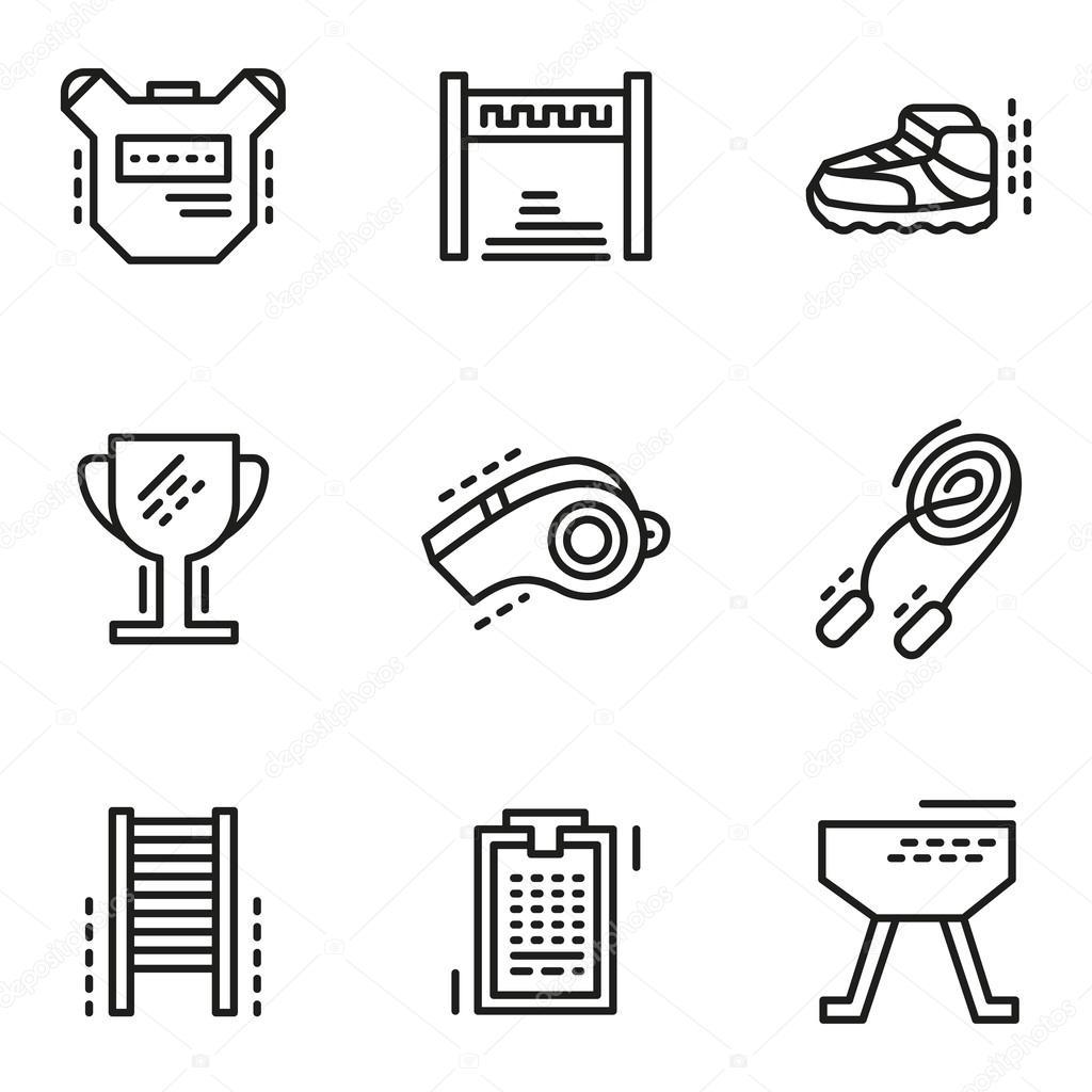 d631071e4 Ícones de vetor de linha simples de educação física — Vetores de ...