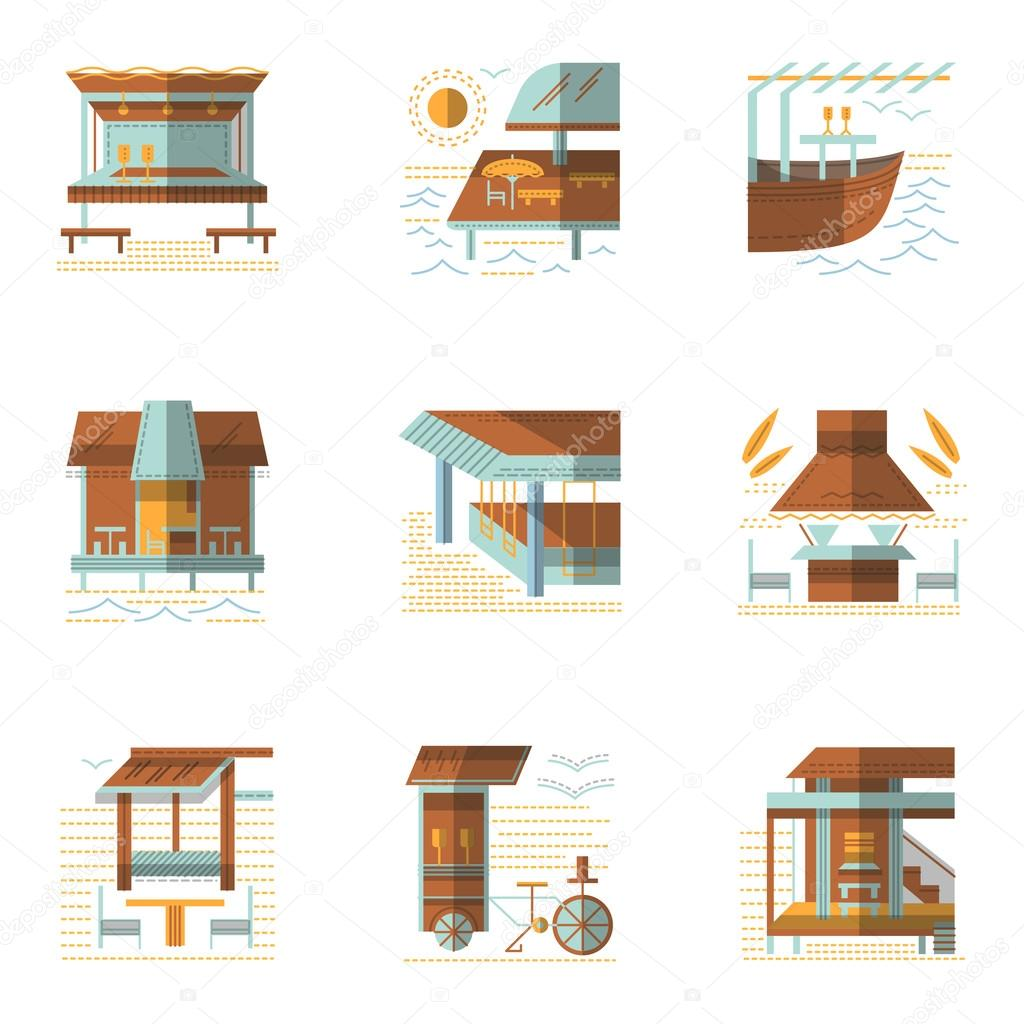 Flat colored vector icons for cafe and bungalows