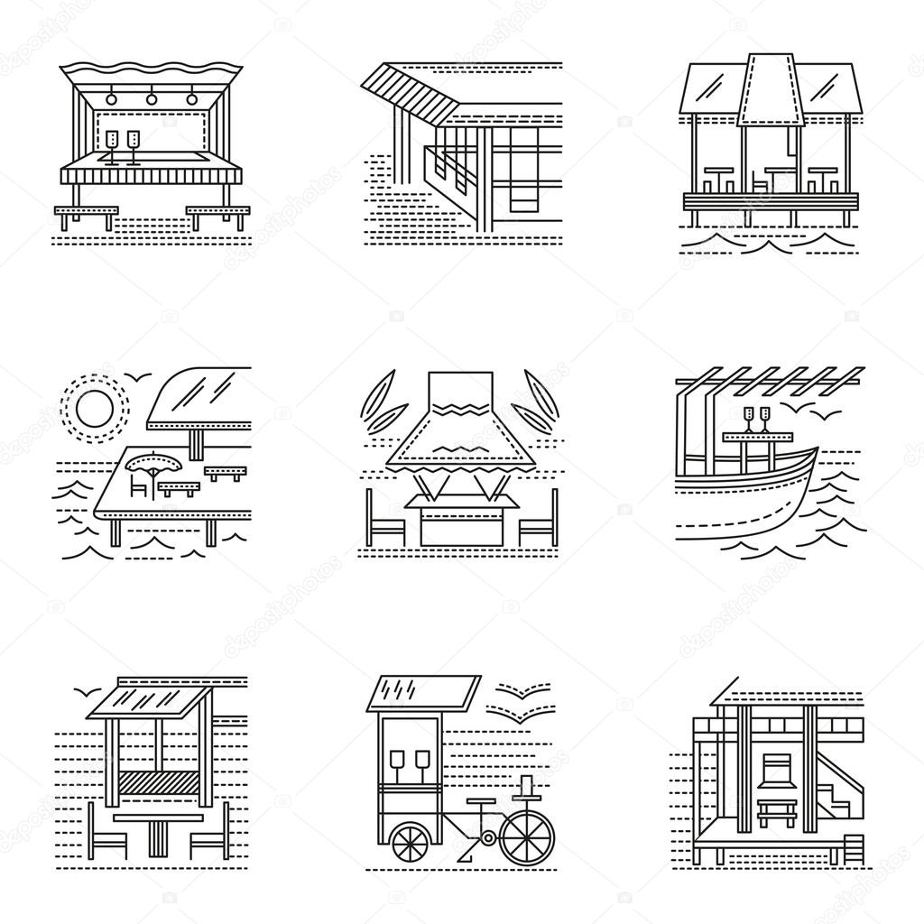 Thin line style cafe and bungalows vector icons