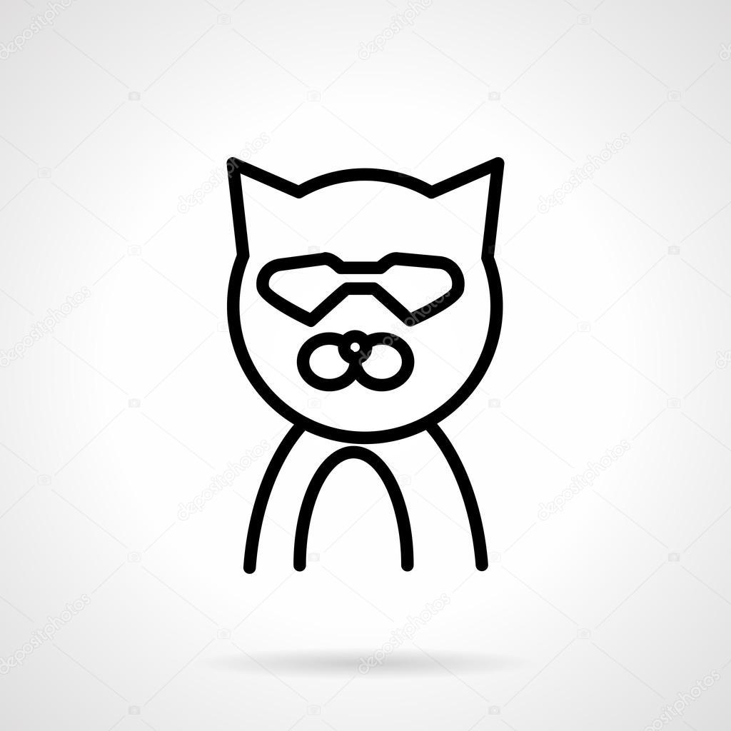 Kot W Okulary Prosty Wiersz Wektor Ikona Grafika Wektorowa