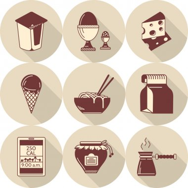 Lunch brown flat style vector icons set