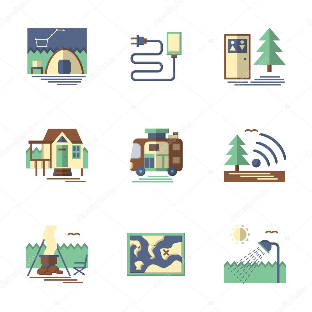 Summer rest flat color vector icons