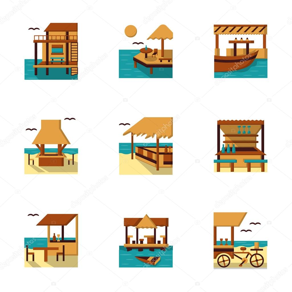 Flat style cafe and bungalow vector icons set