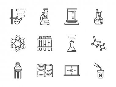 Flat line chemistry research vector  icons