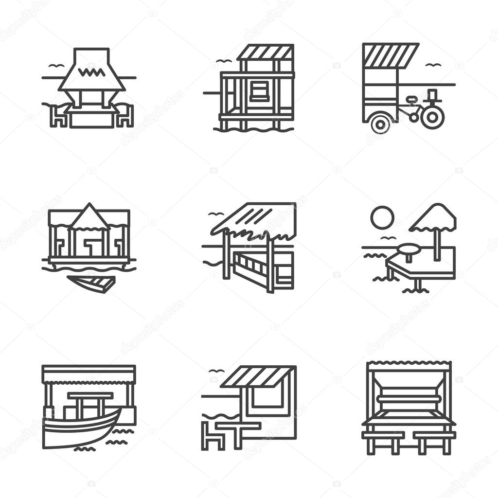 Flat line bungalow vector icons