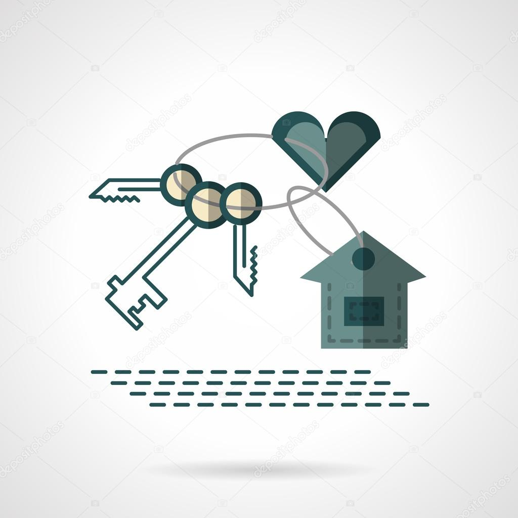 Key Chain Heart And House Flat Vector Icon Stock Vector