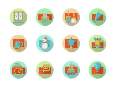 Winter holidays colored round vector icons set