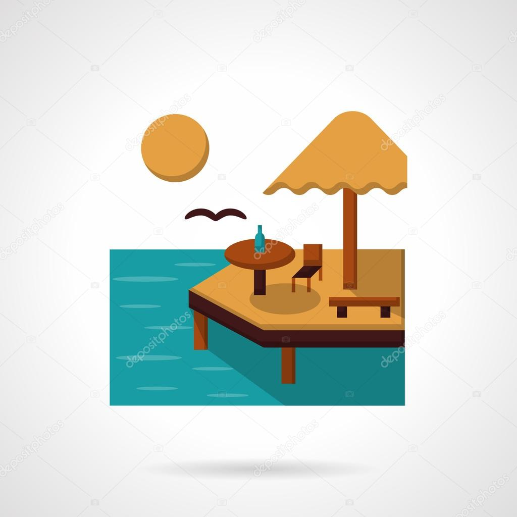 Sea leisure flat color vector icon