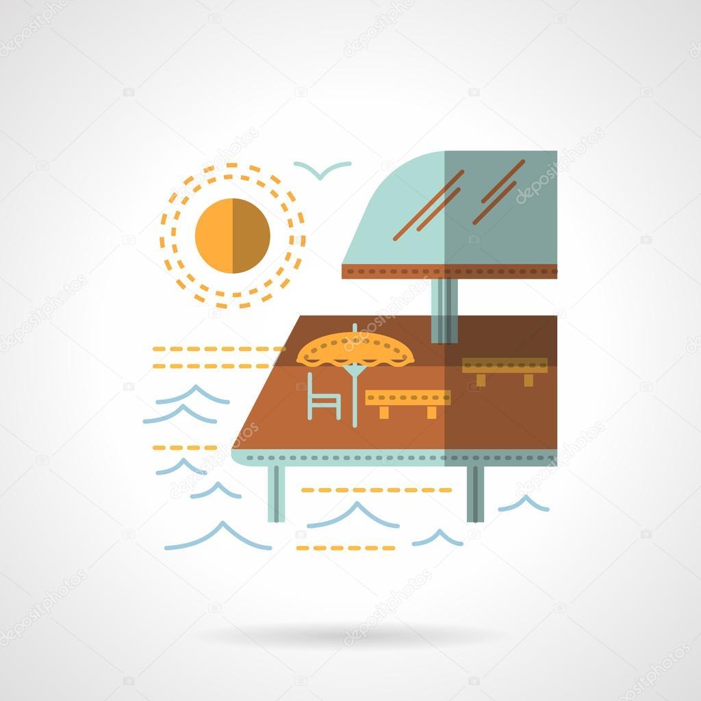 Pier cafe flat color vector icon