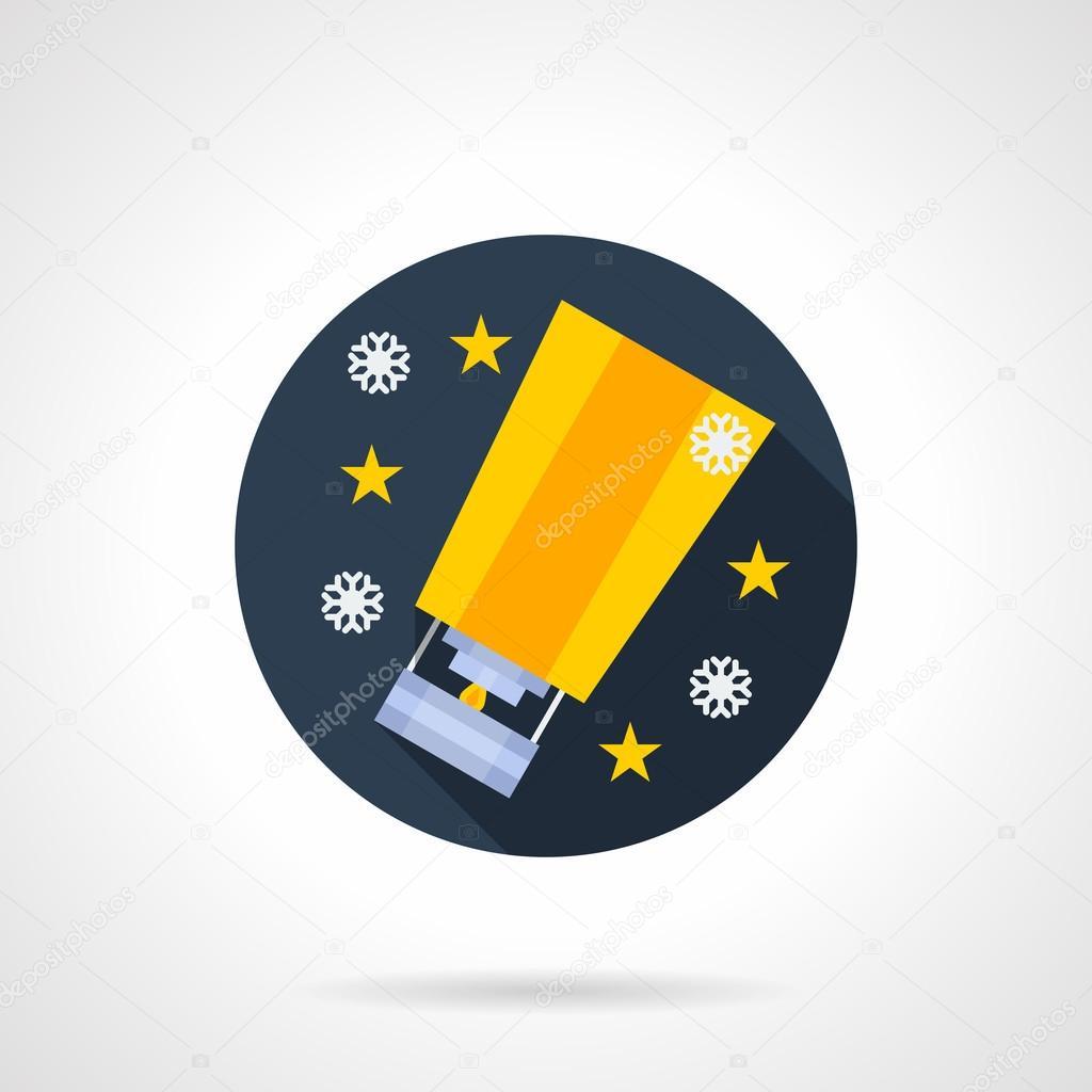 Traditional festive sky lantern flat vector icon