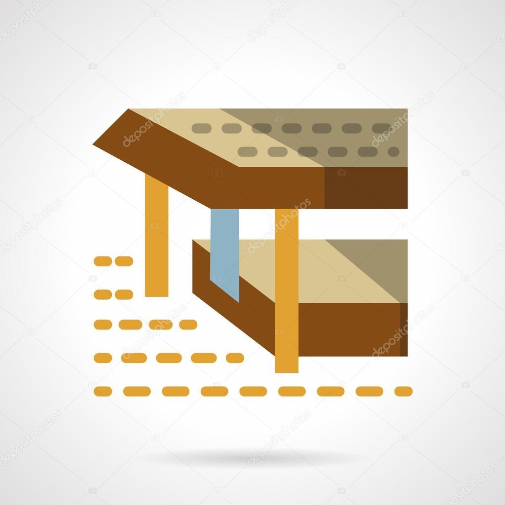 Sea terrace flat color simple vector icon
